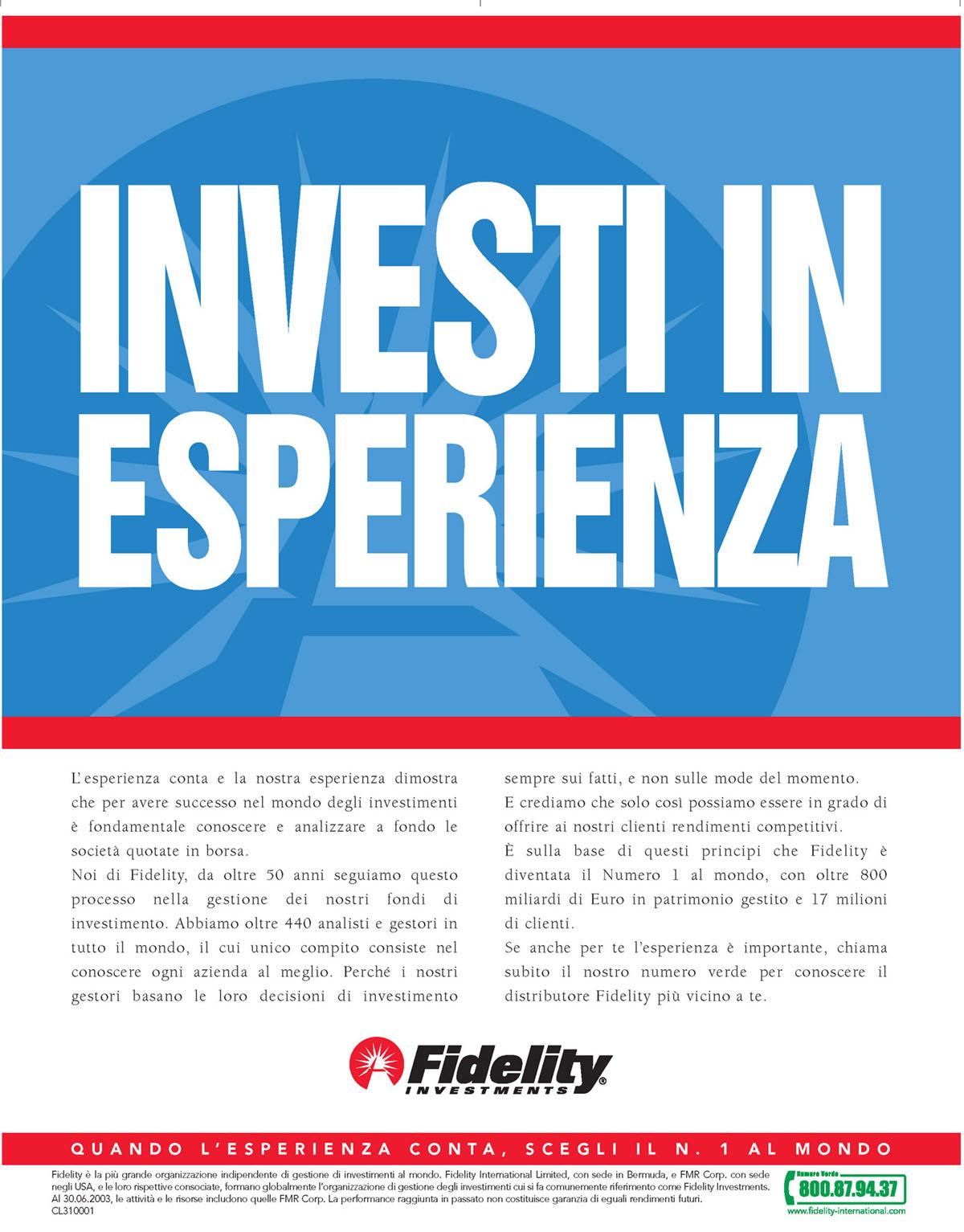 Fidelity vince  nel marketing e rinnova la pubblicita'