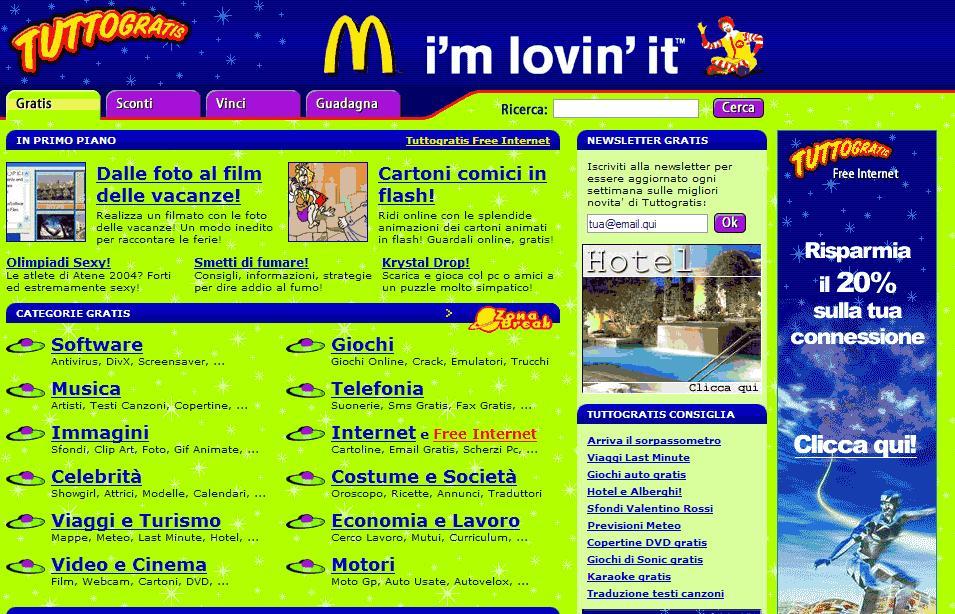 McDonald's ha scelto Tuttogratis per il progetto legato alle   Olimpiadi 2004