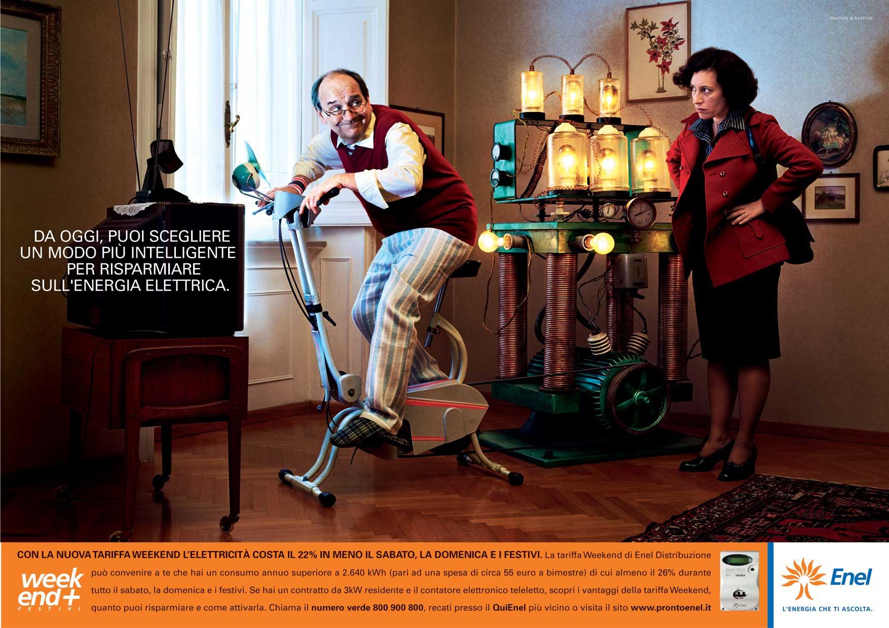 E' on air da domenica 30 gennaio la campagna   pubblicitaria di Enel, ideata dall'agenzia Saatchi & Saatchi, sulle tariffe personalizzate per il consumo di energia elettrica.