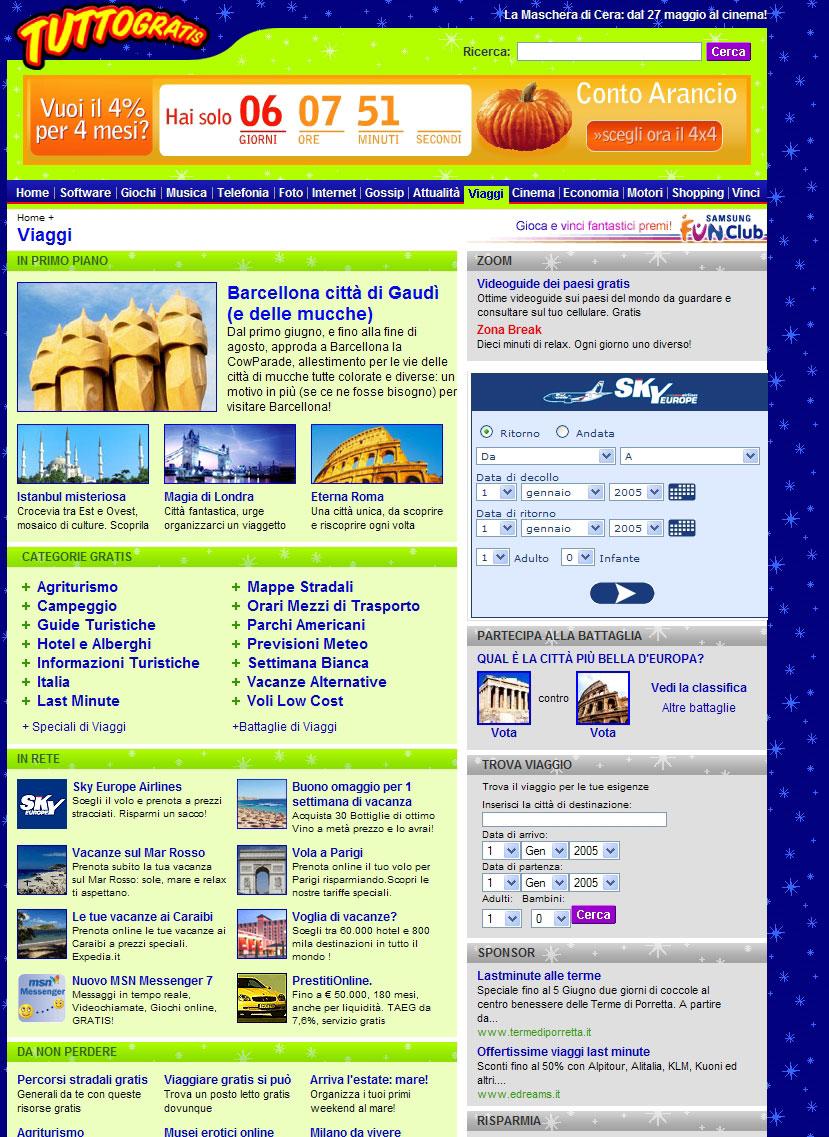 Il portale presenta numerose   offerte e approfondimenti su mete possibili per il weekend, proponendo una interessante e innovativa guida online