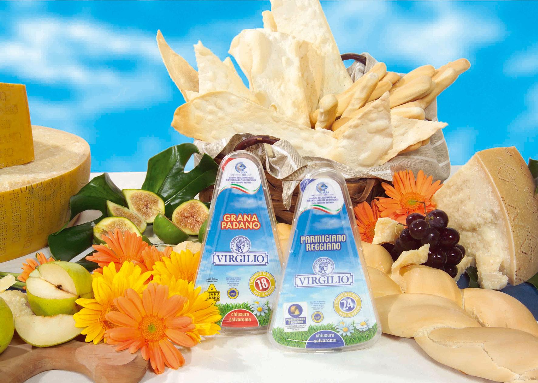 Virgilio amplia la gamma dei suoi prodotti:arrivano il Parmigiano e il Grana Padano con stagionatura dichiarata,   confezione richiudibile e rintracciabilità di filiera