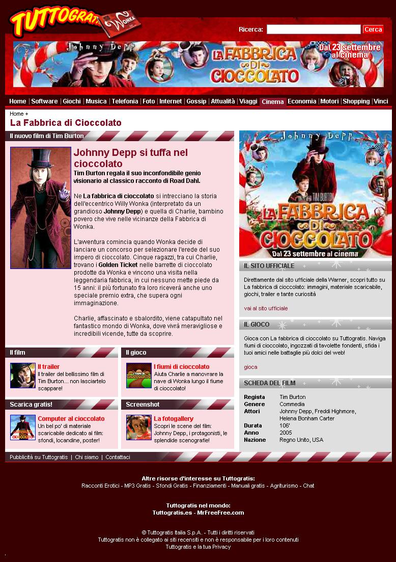 """Tuttogratis.it ne """"La fabbrica di cioccolato"""" Ancora un importante progetto di entertainment sul web per il   network Tuttogratis"""