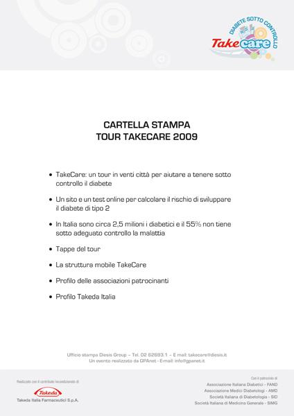 18 settembre 2009 Cartella stampa tour TakeCare