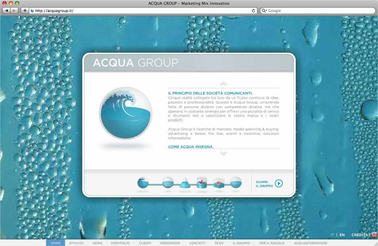 Il nuovo sito di Acqua Group. Un'esperienza di navigazione integrata