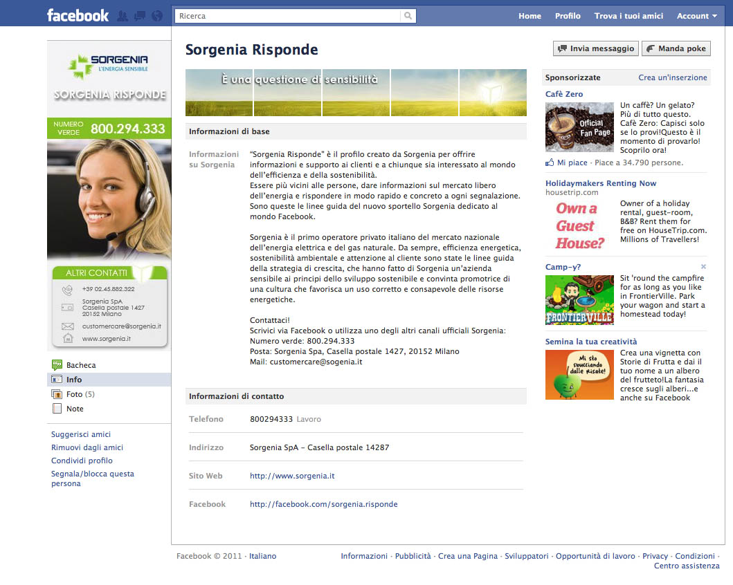 """""""Sorgenia Risponde"""" su Facebook"""