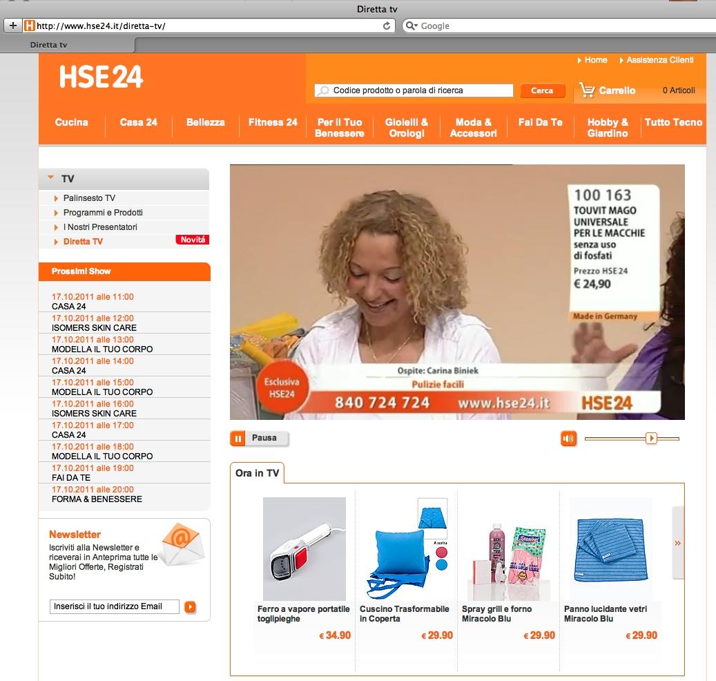 HSE24: al via la diretta streaming di tutta la programmazione