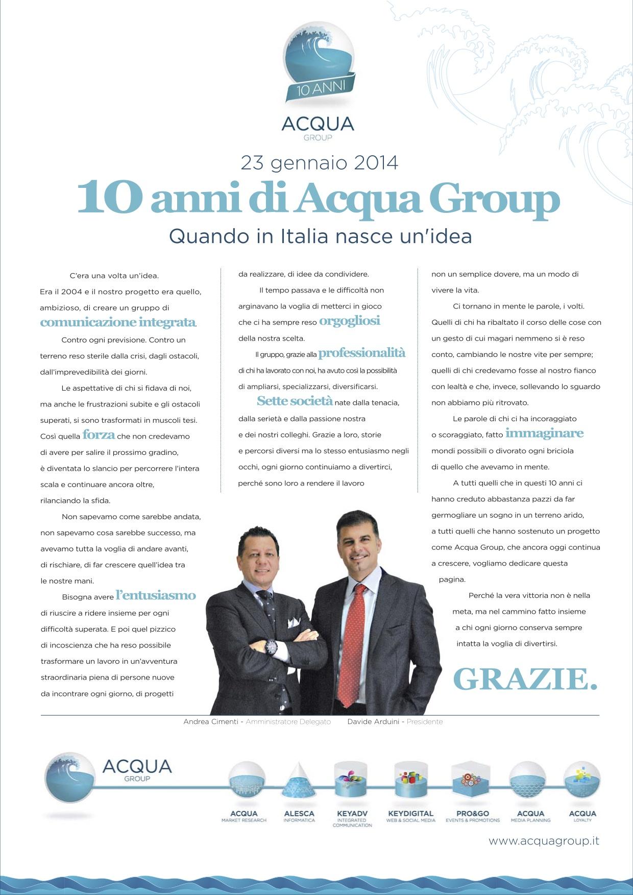 Acqua Group festeggia i suoi primi 10 anni
