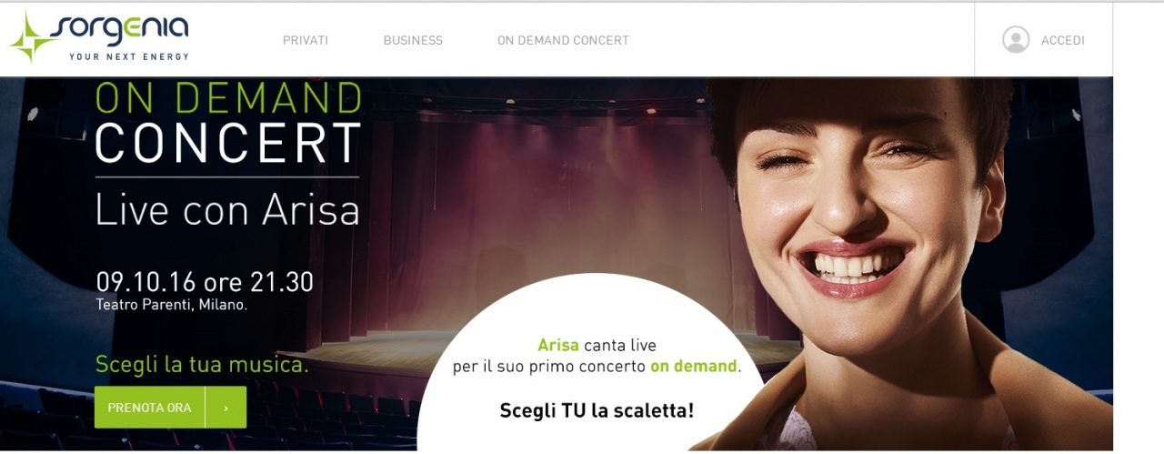 Sorgenia on demand concert: ecco la classifica provvisoria dei brani votati dal pubblico e cantati da Arisa