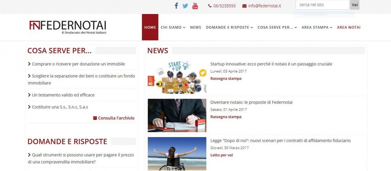 Federnotai, online il nuovo sito