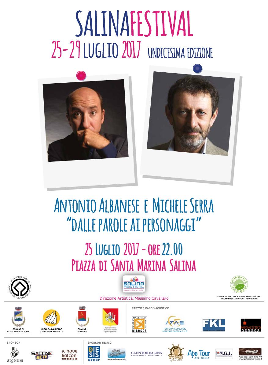 Dalle parole ai personaggi: incontro con Antonio Albanese e Michele Serra al Salina Festival 2017