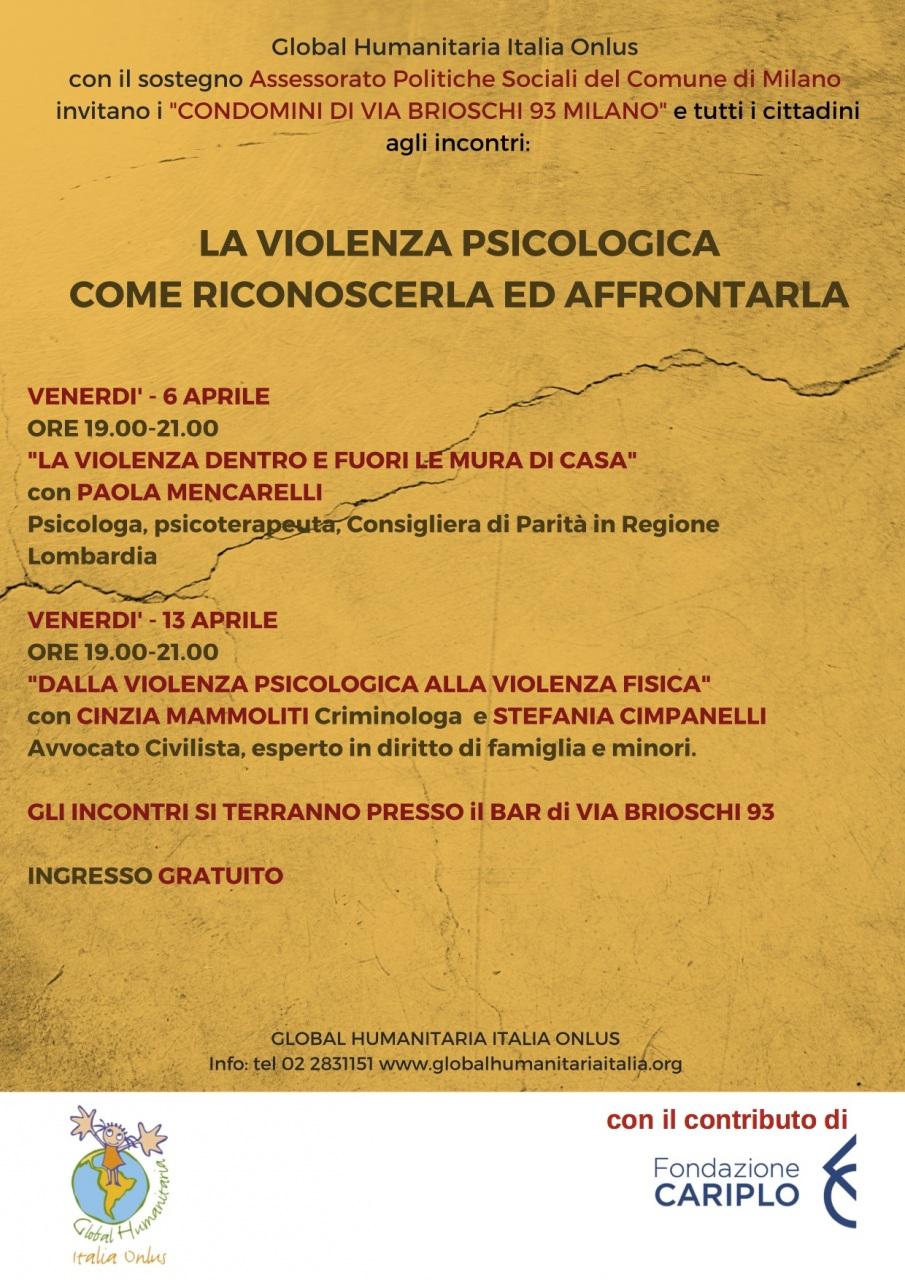 Global Humanitaria: incontri sulla violenza psicologica per dare voce ai condomini di via Brioschi, dopo il delitto di Jessica