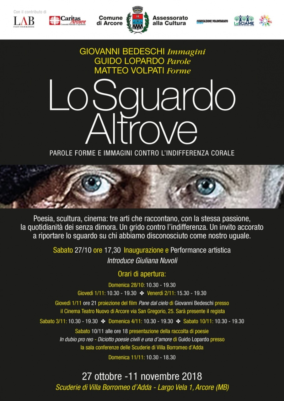 Alla mostra 'Lo sguardo altrove' di Arcore la proiezione di Pane dal cielo, il film sugli homeless di Giovanni Bedeschi