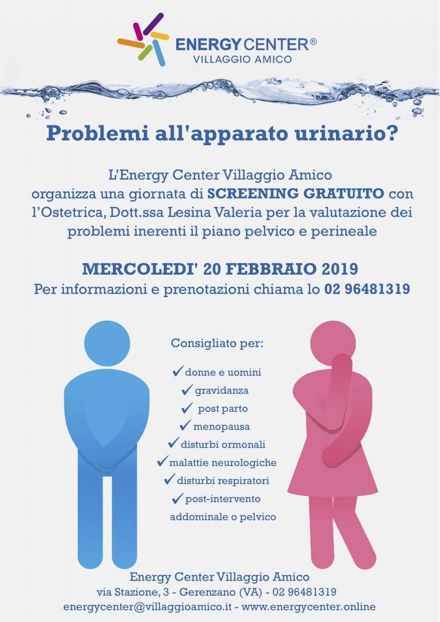 Prevenzione e cura dell'apparato urinario: all'Energy Center di Villaggio Amico uno screening gratuito il 20 febbraio