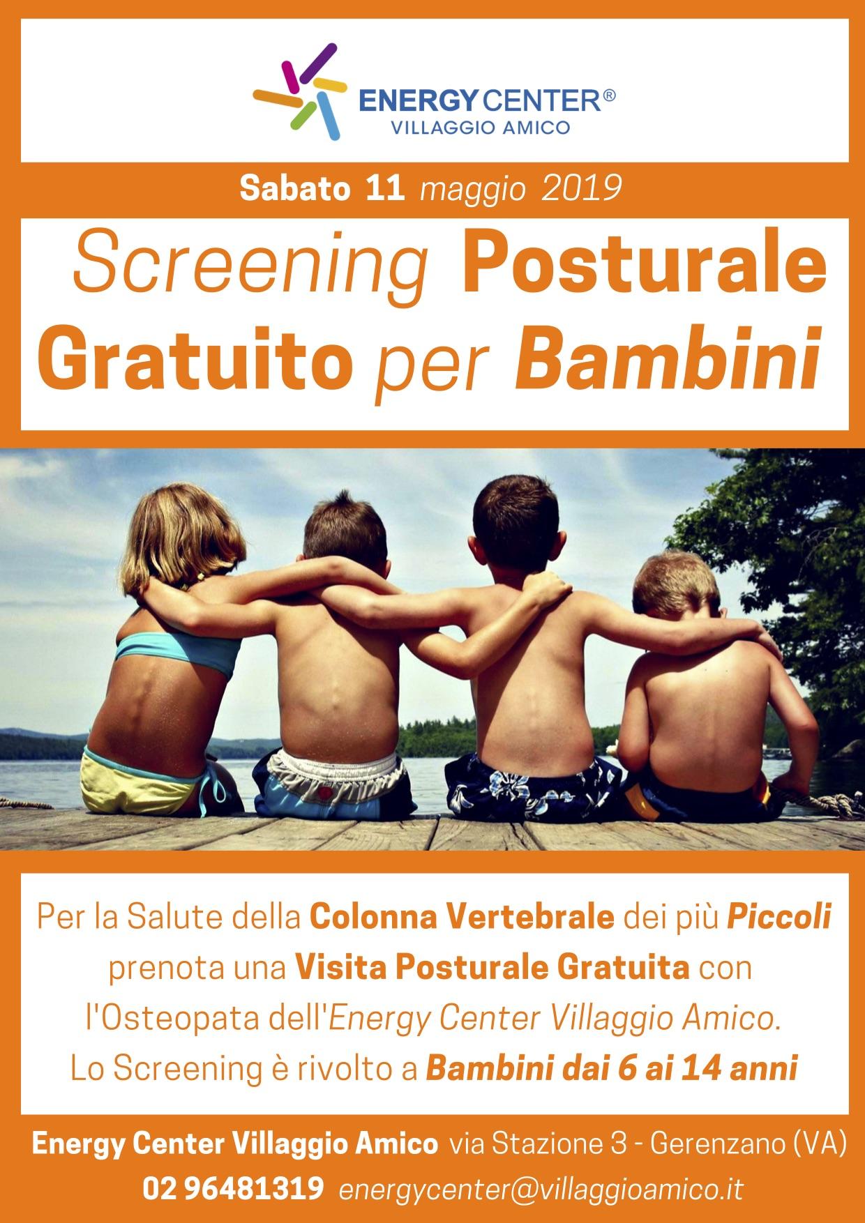 Bambini, scuola e scoliosi: prevenire è meglio che curare. A Villaggio Amico screening posturale gratuito sabato 11 maggio