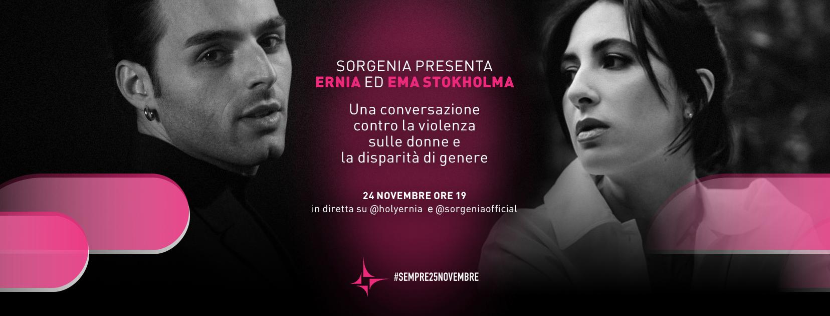 #sempre25novembre: con Ernia ed Ema Stokholma, Sorgenia parla ai giovani per prevenire la violenza contro le donne